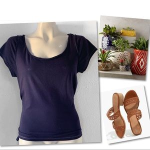 Anthropologie Tops - Anthropologie LEIFNOTES Blue Sheer Tie  T Top SZ S